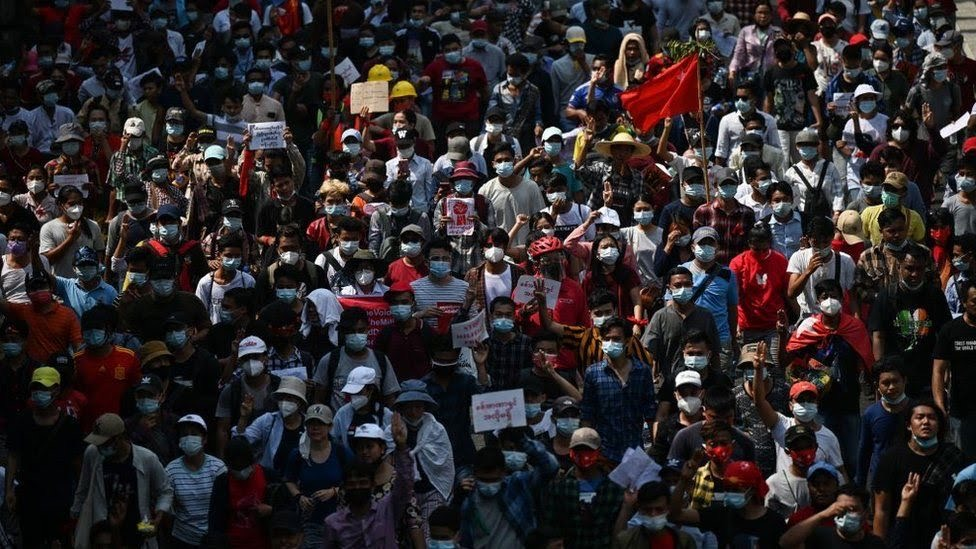 Myanmar coup: Tens of thousands join largest protests since 2007