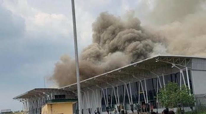Imo Airport on fire