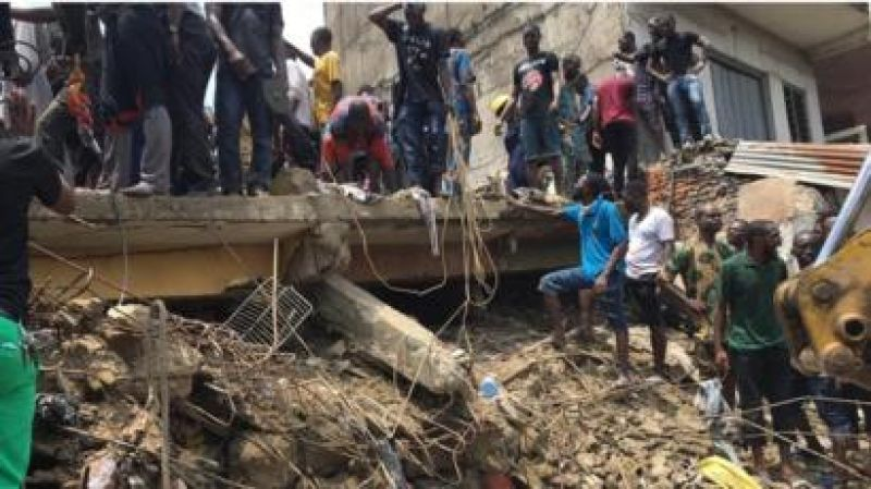 Collapsed building in Lagos