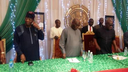 Gbenga Daniel,  Atiku Abubakar  and Nyesom Wike during the visit