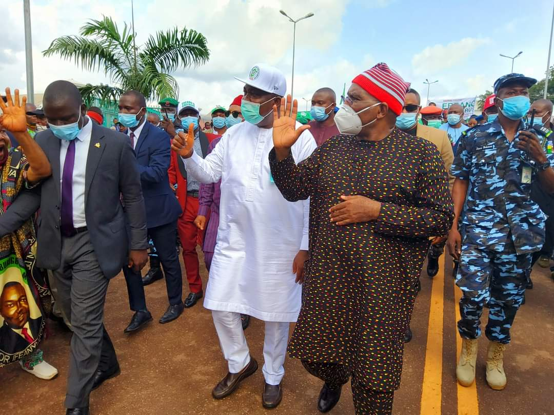 Gov Ifeanyi Ugwuanyi and Senator Chimaroke Nnamani during the solidarity visit Saturday.
