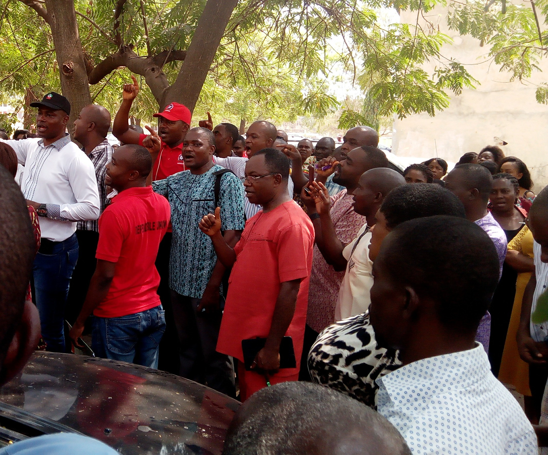 The aggrieved workers of the hospital during the rally held Thursday to announce commencement of the