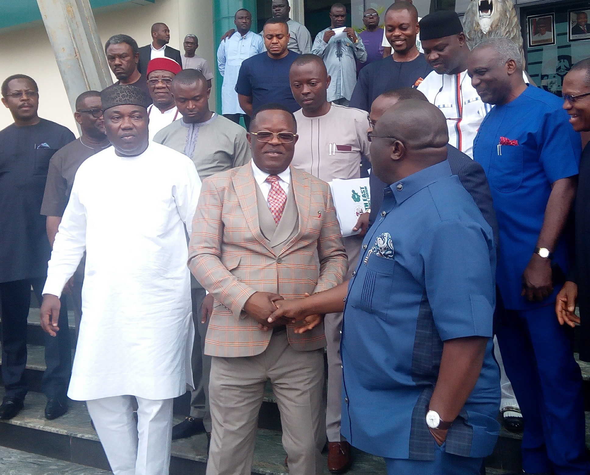 Governors Ifeanyi Ugwuanyi, Dave Umahi and Okezie Ikpeazu after the meeting
