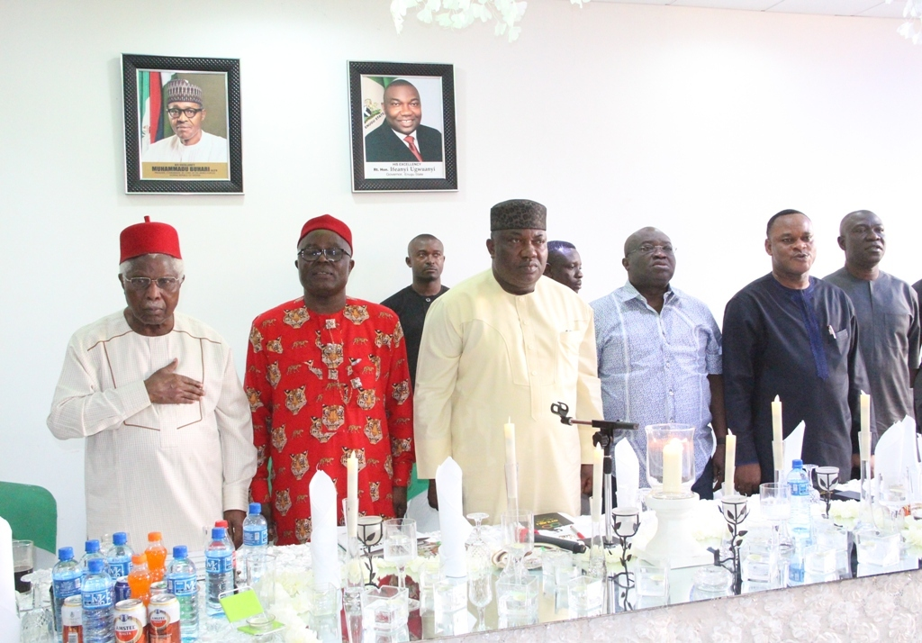 L-R: Former Vice President, Dr. Alex Ekwueme; South East Zonal PDP Chairman, Chief Austin Umahi; Gov