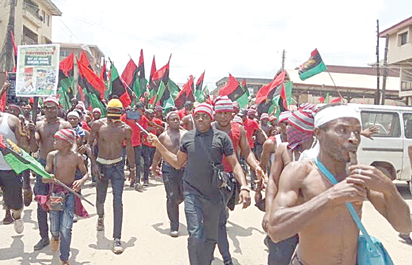Some members of the proscribed IPOB in Onitsha, Anambra State