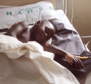 Four year old Ushahemba Msuega who was shot at Tom-Atar village by the invaders is still in critical