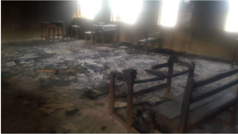 The classroom block razed by arsonists